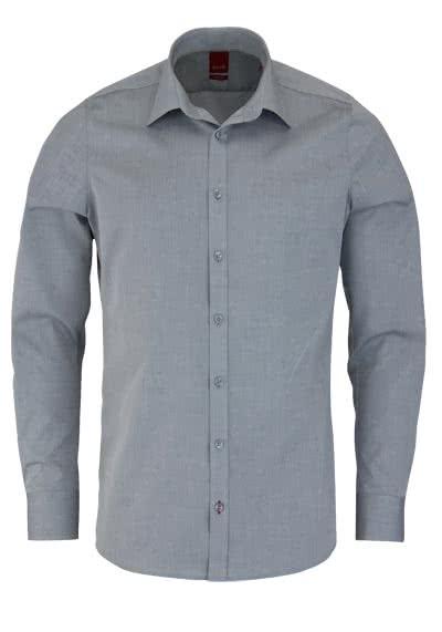 PURE Slim Fit Hemd Langarm New Kent Kragen mit Kragenband hellgrau - Hemden Meister