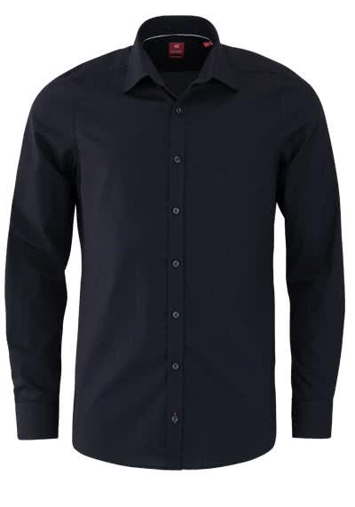 PURE Slim Fit Hemd Langarm New Kent Kragen mit Kragenband schwarz - Hemden Meister