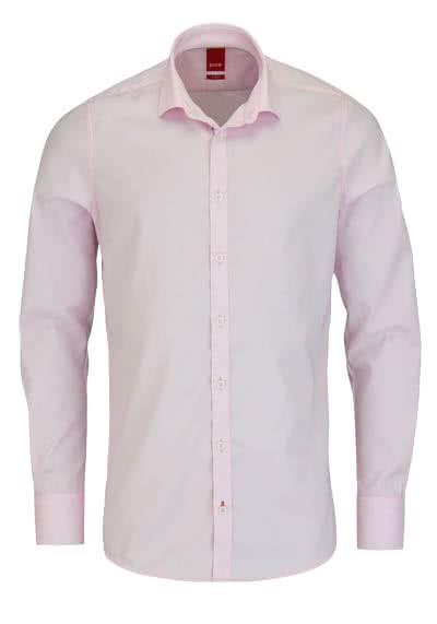 PURE Slim Fit Hemd Langarm ohne Brusttasche New Kent Kragen rosa - Hemden Meister