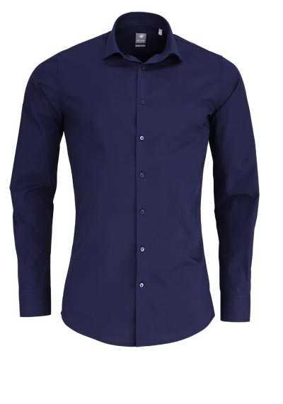PURE Extra Slim Hemd Langarm New Kent Kragen Stretch nachtblau - Hemden Meister