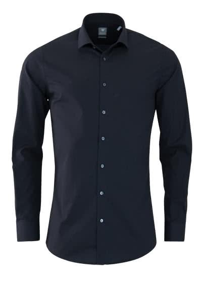 PURE Extra Slim Hemd Langarm New Kent Kragen Stretch schwarz - Hemden Meister