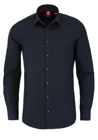 PURE Slim Fit Hemd Langarm New Kent Kragen Stretch schwarz - Hemden Meister