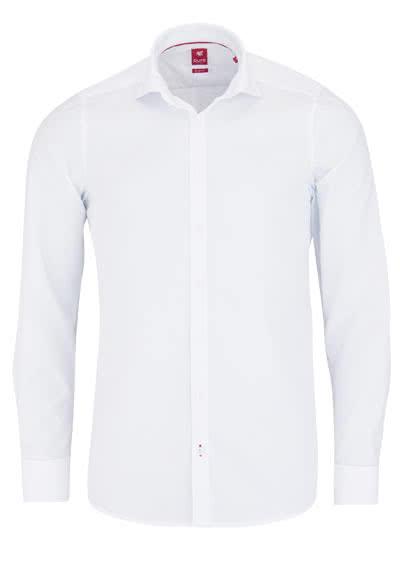 PURE Slim Fit Hemd Langarm Haifisch Kragen Umschlagmanschette weiß - Hemden Meister