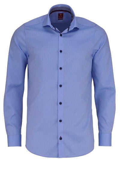 PURE Slim Fit Hemd Langarm Haifisch Kragen mit Patch hellblau - Hemden Meister