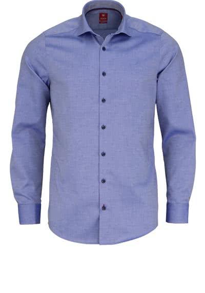PURE Slim Fit Hemd Langarm Haifisch Kragen mit Patch dunkelblau - Hemden Meister