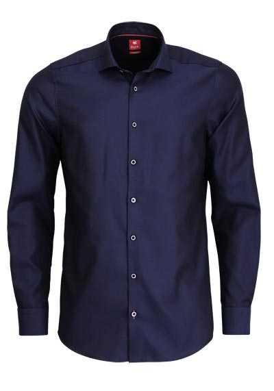 PURE Slim Fit Hemd Langarm Haifischkragen Sportmanschetten nachtblau