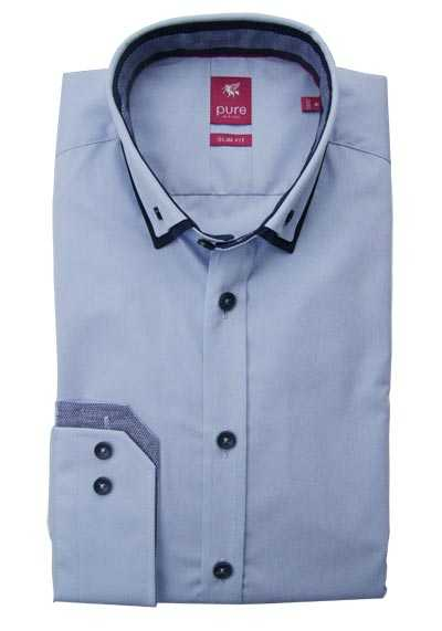 PURE Slim Fit Hemd Langarm Under Button Down Kragen hellblau