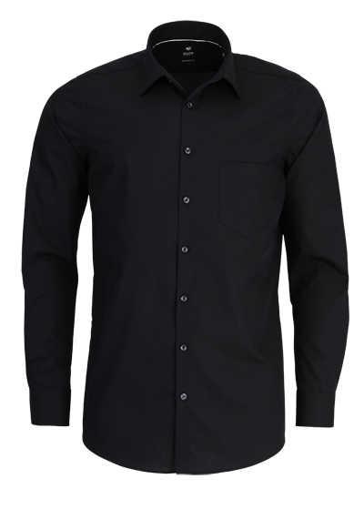 PURE Modern Fit Hemd Langarm New Kent Kragen Sportmanschetten schwarz