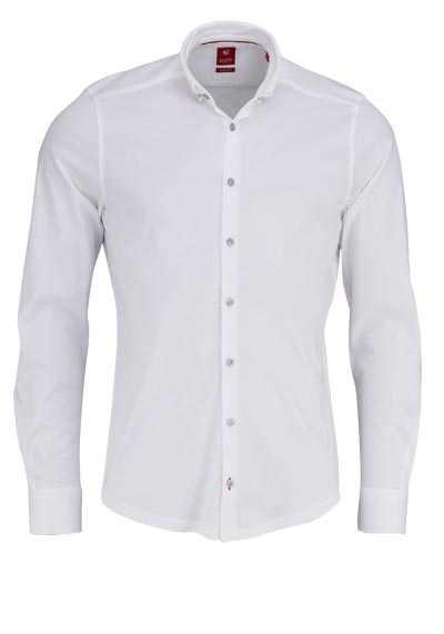 PURE Slim Fit Hemd Langarm Button Down Kragen Sportmanschetten weiß - Hemden Meister