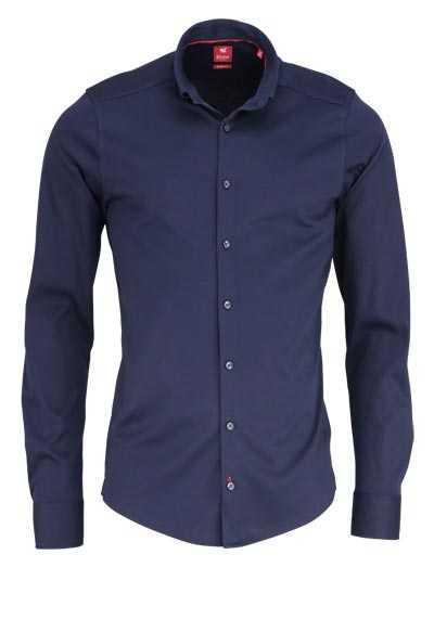 PURE Slim Fit Hemd Langarm Button Down Kragen Sportmanschetten dunkelblau - Hemden Meister