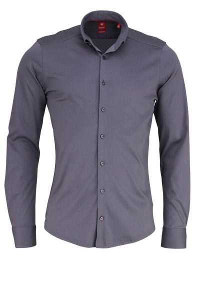 PURE Slim Fit Hemd Langarm Button Down Kragen dunkelgrau - Hemden Meister