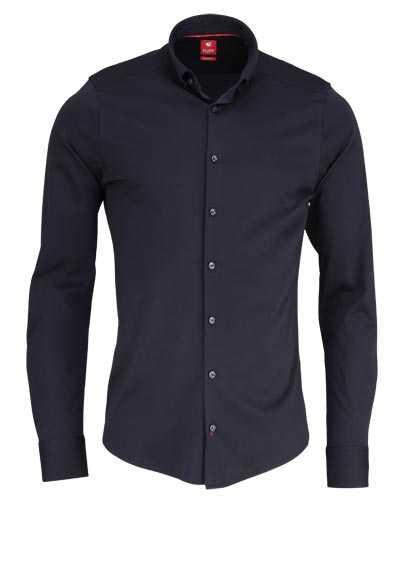 PURE Slim Fit Hemd Langarm Button Down Kragen Sportmanschetten schwarz - Hemden Meister