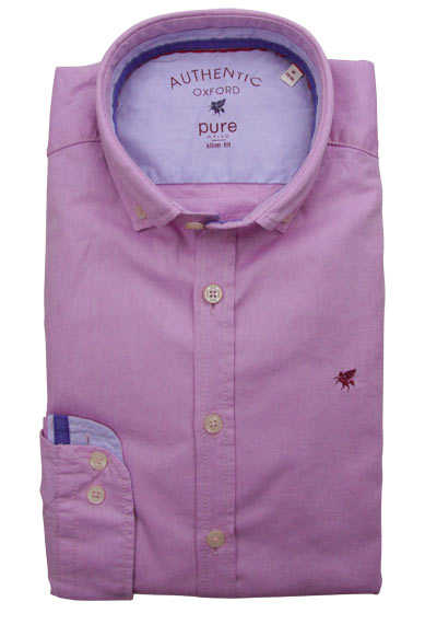 PURE Slim Fit Hemd Langarm Button Down Kragen Sportmanschetten rosa