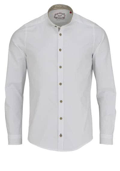 PURE Slim Fit Trachten-Hemd Langarm Stehkragen mit Patch weiß - Hemden Meister