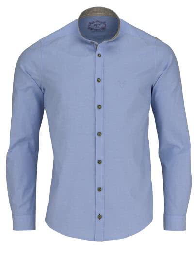PURE Slim Fit Trachten-Hemd Langarm Stehkragen mit Patch hellblau - Hemden Meister
