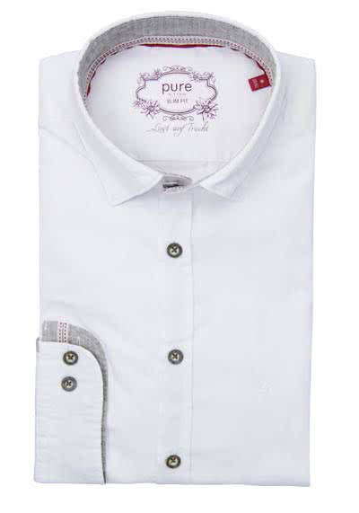 PURE Slim Fit Trachten-Hemd Langarm Button Down Kragen weiß
