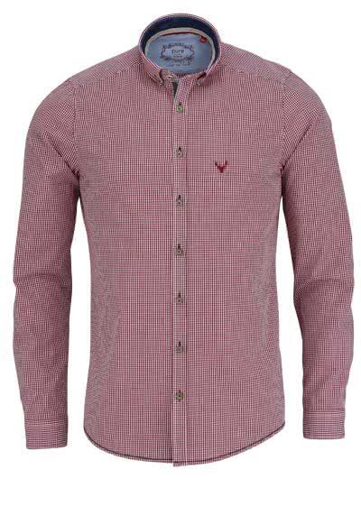 PURE Slim Fit Trachten-Hemd Button Down Kragen Karo dunkelrot - Hemden Meister