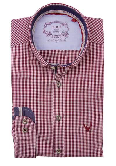 PURE Slim Fit Trachten-Hemd Button Down Kragen Karo dunkelrot