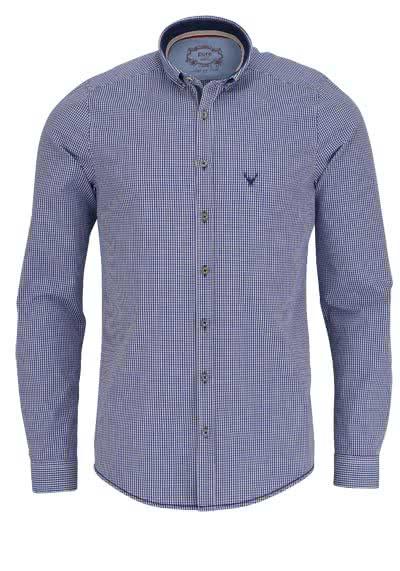 PURE Slim Fit Trachten-Hemd Button Down Kragen Karo dunkelblau - Hemden Meister