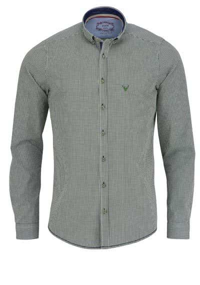 PURE Slim Fit Trachten-Hemd Button Down Kragen Karo dunkelgrün - Hemden Meister
