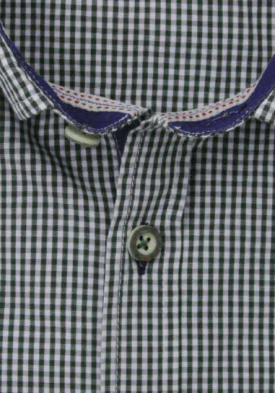 PURE Slim Fit Trachten-Hemd Button Down Kragen Karo dunkelgrün