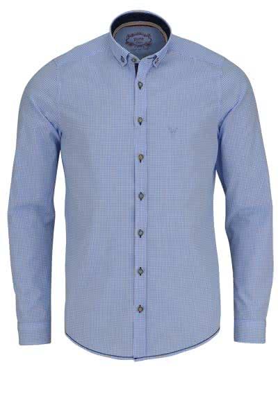 PURE Slim Fit Trachten-Hemd Button Down Kragen Karo hellblau - Hemden Meister