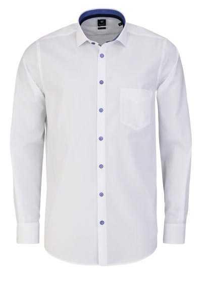 PURE Modern Fit Hemd Langarm Haifischkragen Brusttasche weiß