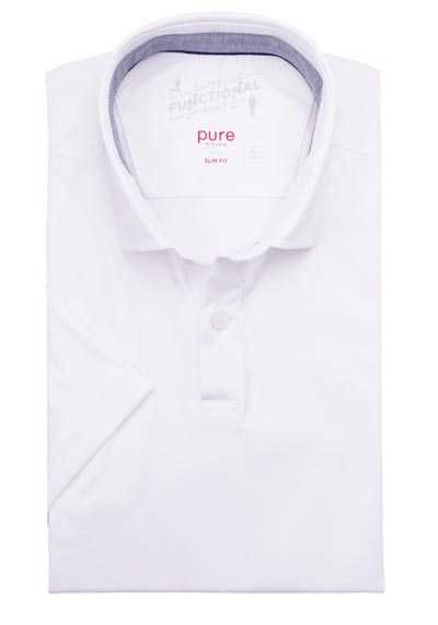 PURE Slim Fit Hemd New Kent Kragen Patch Stretch weiß