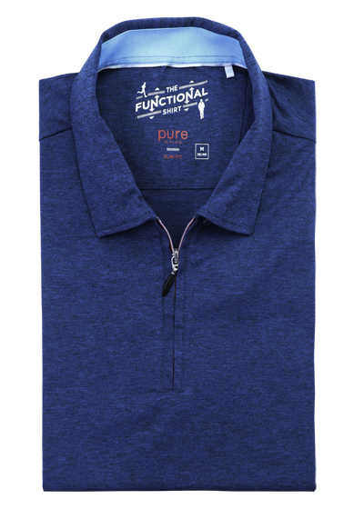 PURE Slim Fit Hemd Halbarm Polokragen mit Zipper Stretch navy
