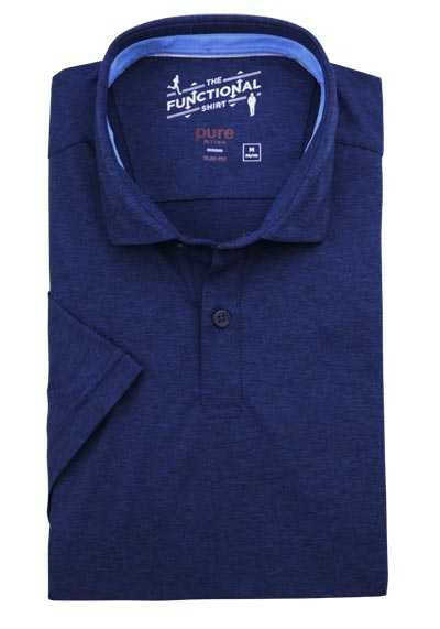 PURE Slim Fit Hemd Halbarm Polokragen Stretch navy