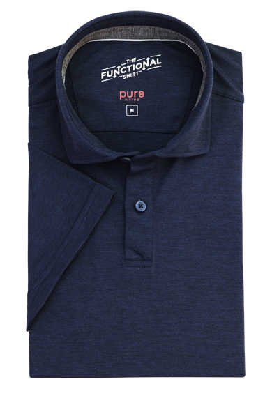 PURE Slim Fit Hemd Halbarm Polokragen Stretch nachtblau