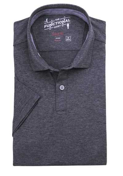 PURE Slim Fit Hemd Halbarm Polokragen Stretch grau
