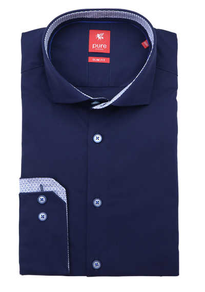 PURE Slim Fit Hemd Langarm Haifischkragen Patch navy