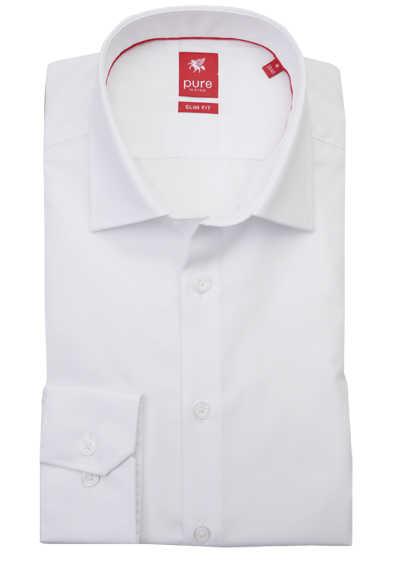 PURE Slim Fit Hemd Langarm New Kent Kragen reine Baumwolle weiß