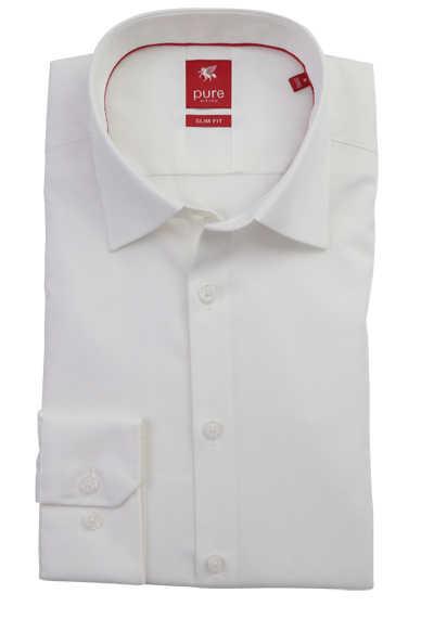 PURE Slim Fit Hemd Langarm New Kent Kragen reine Baumwolle beige