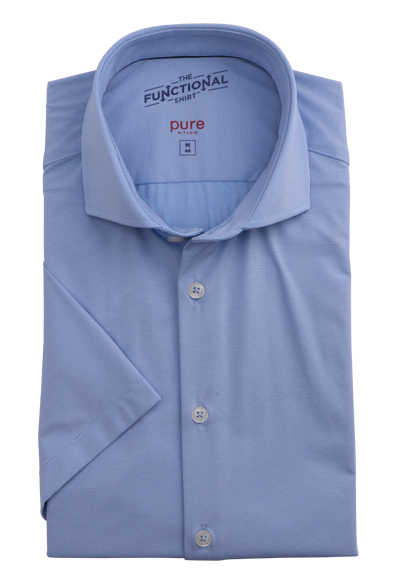 PURE Slim Fit Functional Hemd Kurzarm Stretch Struktur mittelblau