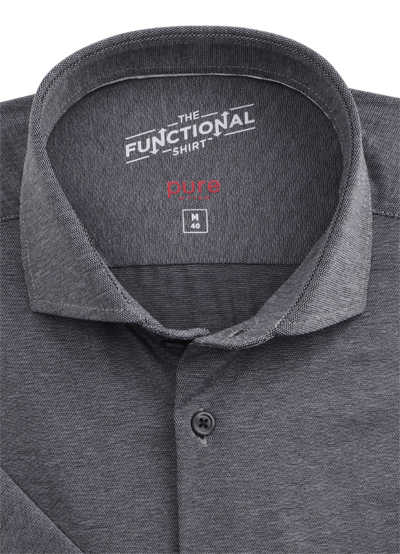 PURE Slim Fit Functional Hemd Kurzarm Stretch Struktur grau