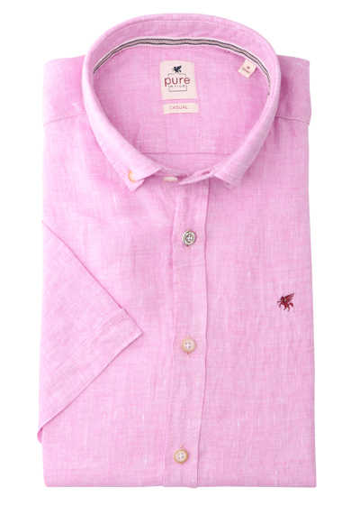 PURE Casual Fit Hemd Kurzarm Button Down Kragen reine Leine rosa