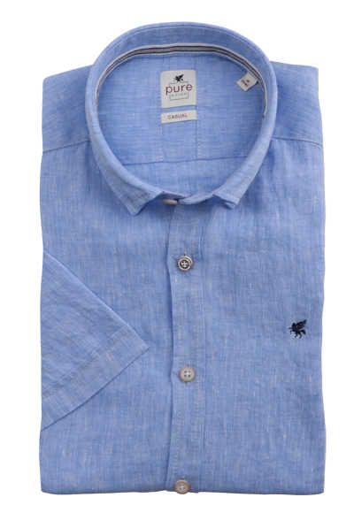 PURE Casual Fit Hemd Kurzarm Button Down Kragen reine Leine blau
