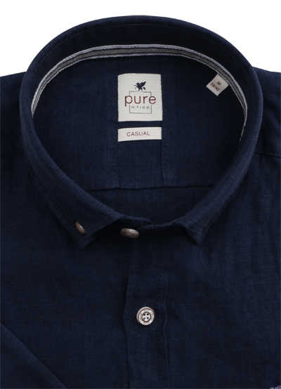 PURE Casual Fit Hemd Kurzarm Button Down Kragen reine Leine nachtblau