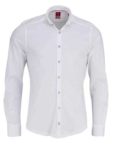 PURE Slim Fit Hemd Langarm Button Down Kragen Sportmanschetten weiß