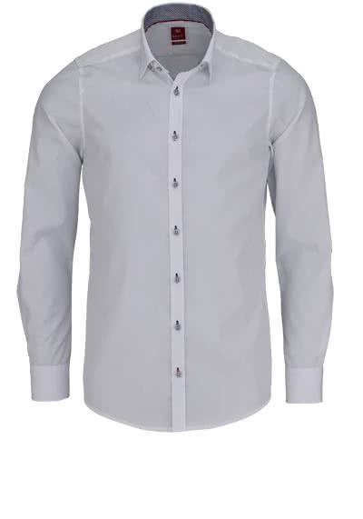 PURE Slim Fit Hemd Langarm Under Button Down Kragen weiß