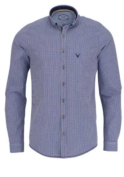 PURE Slim Fit Trachten-Hemd Button Down Kragen Karo dunkelblau