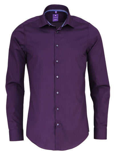 REDMOND 4 Limited Hemd Langarm Natural Stretch aubergine