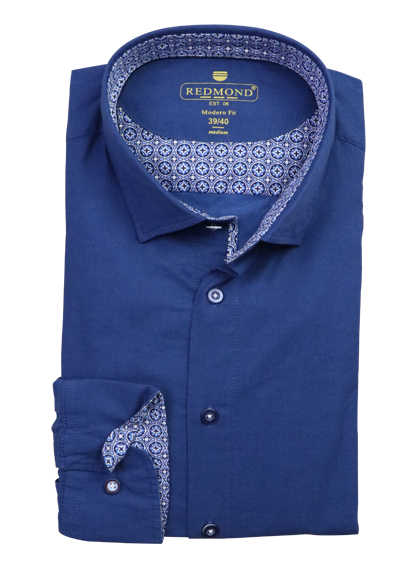REDMOND Modern Fit Herrenhemd Langarm New Kent Kragen navy