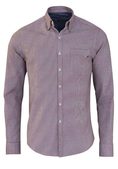 REPLAY Comfort Fit Hemd Langarm Under-Button-Down Muster rot