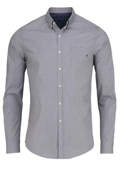 REPLAY Comfort Fit Hemd Langarm Under-Button-Down Muster schwarz preisreduziert