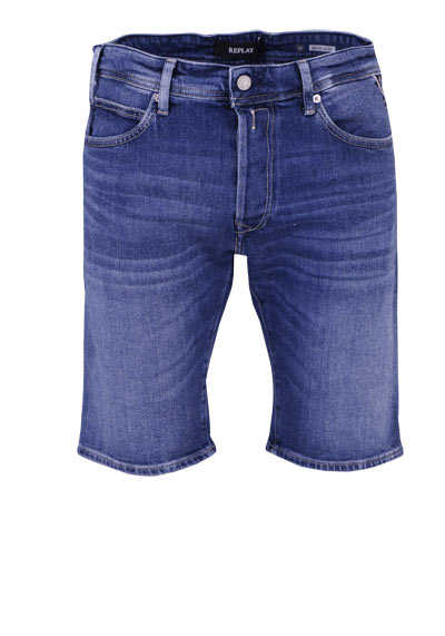 REPLAY Comfort Fit Jeans-Shorts 5 Pocket Used Umschlag rauchblau