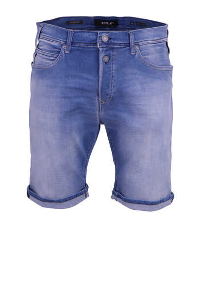 REPLAY Comfort Fit Jeans-Shorts 5 Pocket geknöpft Destroy mittelblau