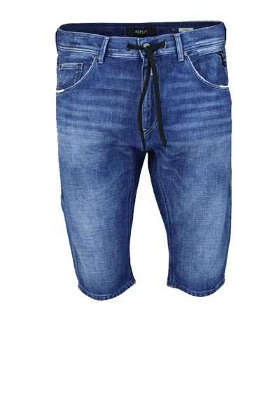 REPLAY Comfort Fit Jeans-Shorts Tunnelzug Taschen Used mittelblau